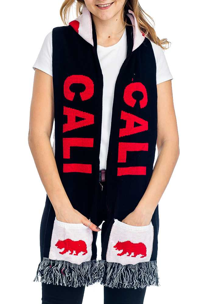 """CALI"" Double Layered & Thick Knit UNISEX Hooded and Fringed Winter Scarf with Pockets"