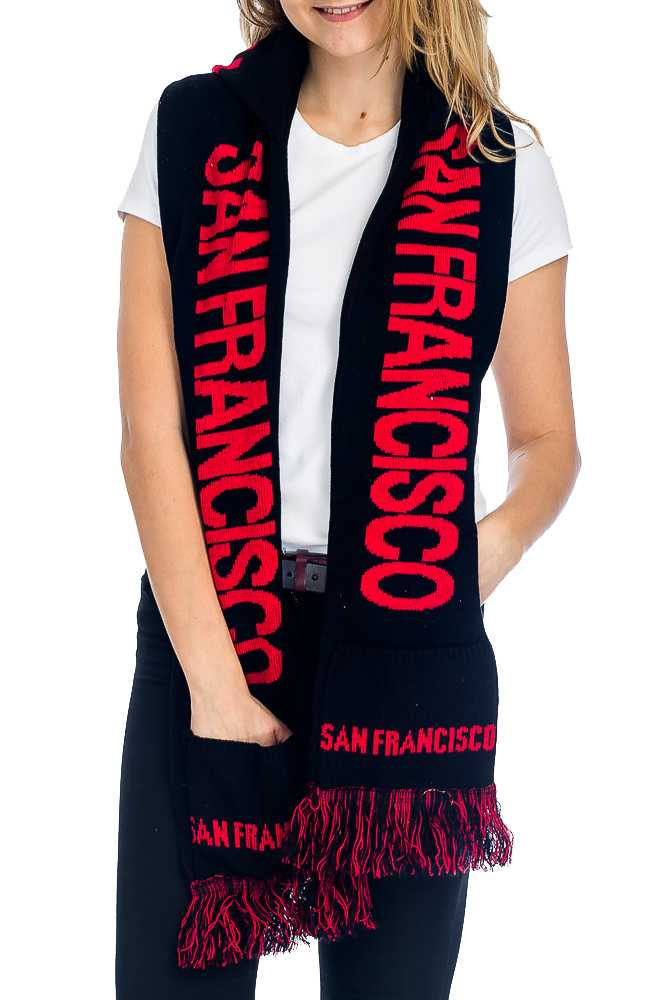 """SAN FRANCISCO"" Double Layered & Thick Knit UNISEX Hooded and Fringed Winter Scarf with Pockets"