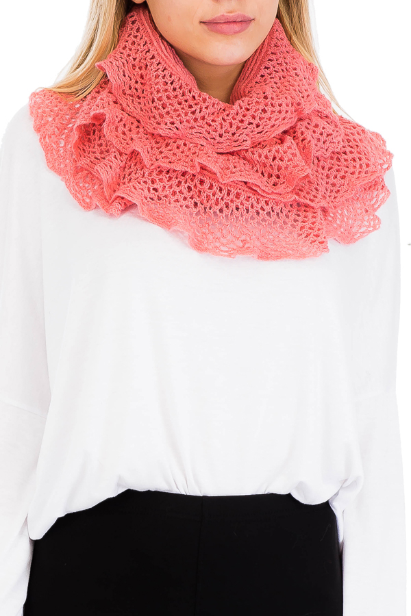 Scallop Edging Knitted Infinity Softness Scarves