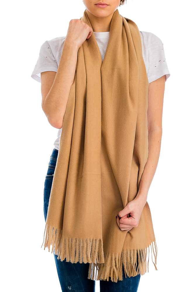 Brushed & Oversized Extra Soft with Fringe Thick Cashmere Shawls Scarves