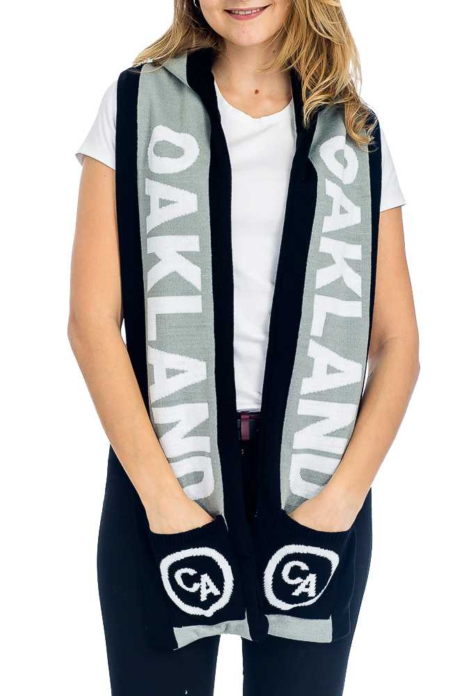 """OAKLAND"" Double Layered & Thick Knit UNISEX Hooded Winter Scarf with Pockets"