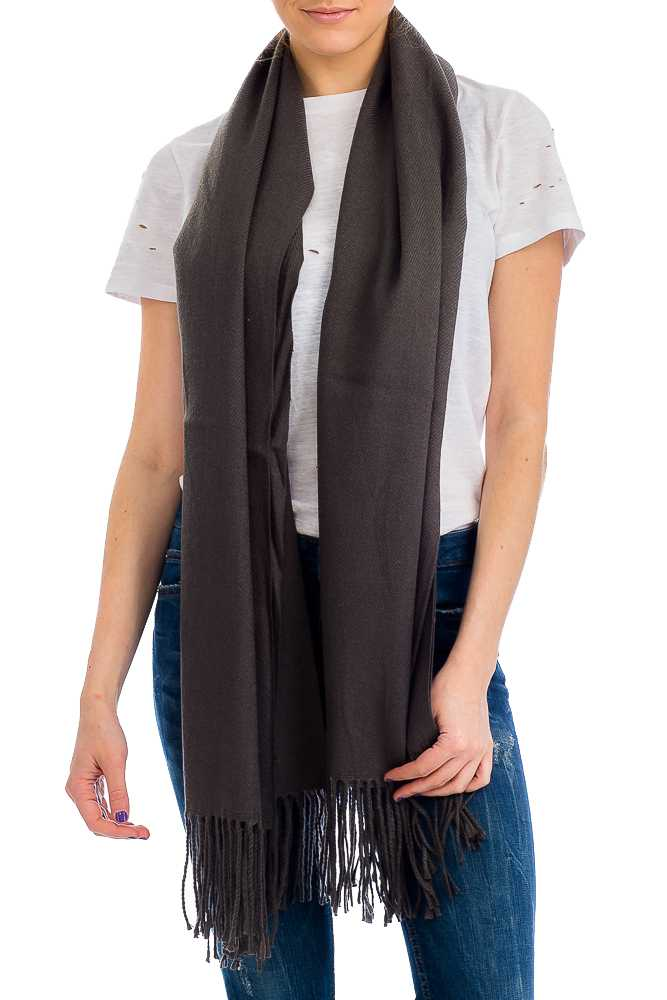 Extra Soft Cashmere Felt Over-sized Shawl Scarf with Fringes