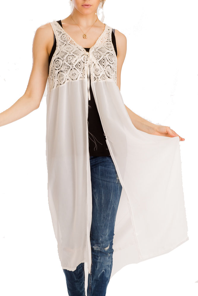 Diamond Lace Cut Knit Pattern With Flowy Tail Kimono Top