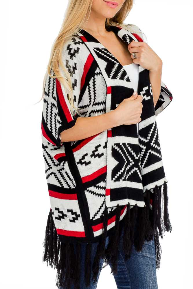 Tribal Aztec Printed Semi Sleeved Open Poncho