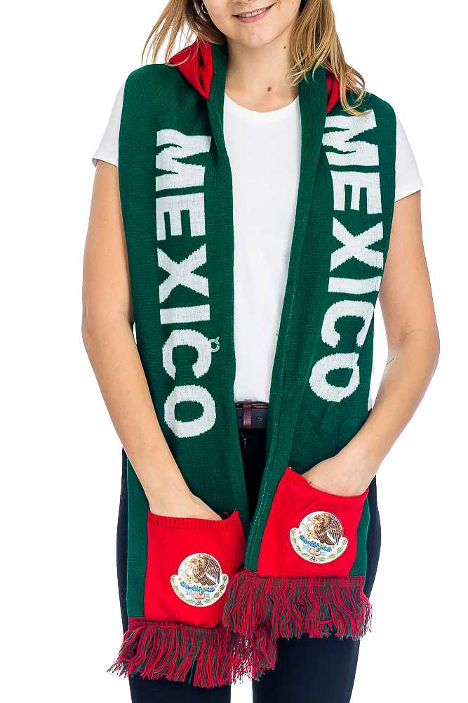 """MEXICO"" Double Layered & Thick Knit UNISEX Hooded and Fringed Winter Scarf with Pockets"