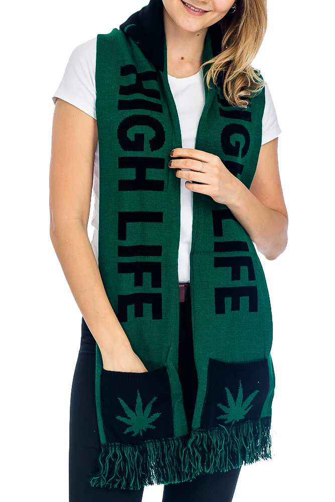 """HIGH LIFE"" Double Layered & Thick Knit UNISEX Hooded and Fringed Winter Scarf with Pockets"
