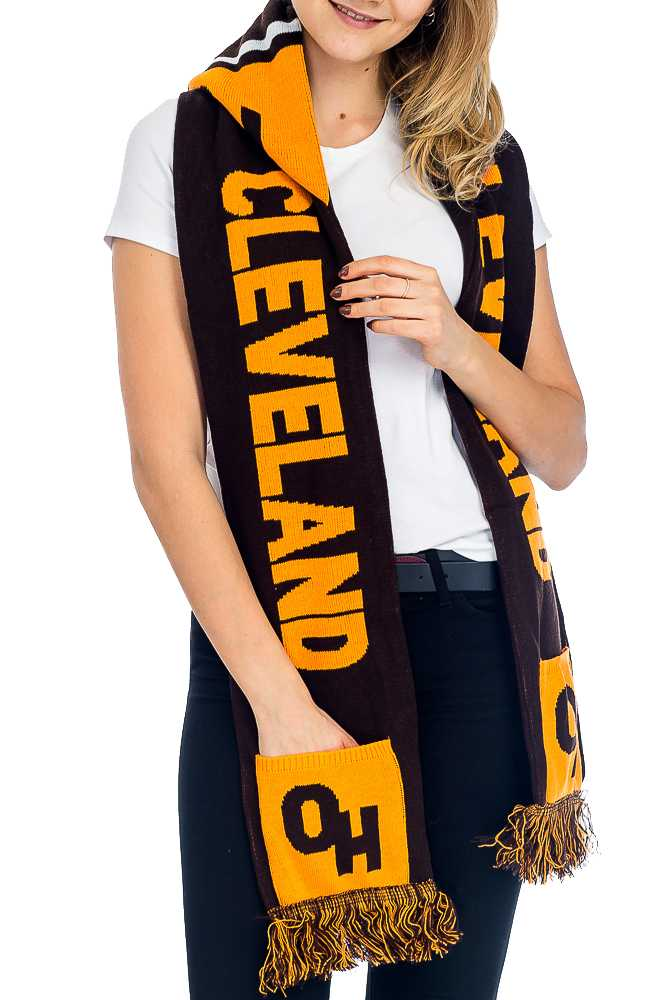 """CLEVELAND"" Double Layered & Thick Knit UNISEX Hooded and Fringed Winter Scarf with Pockets"