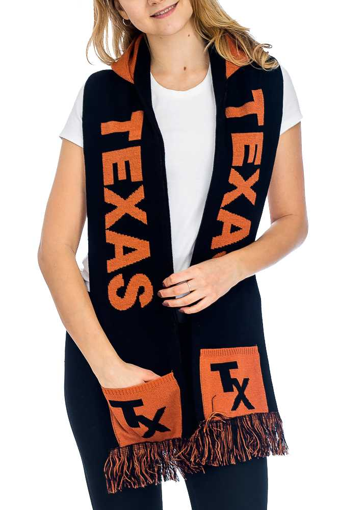 """TEXAS"" Double Layered & Thick Knit UNISEX Hooded and Fringed Winter Scarf with Pockets"