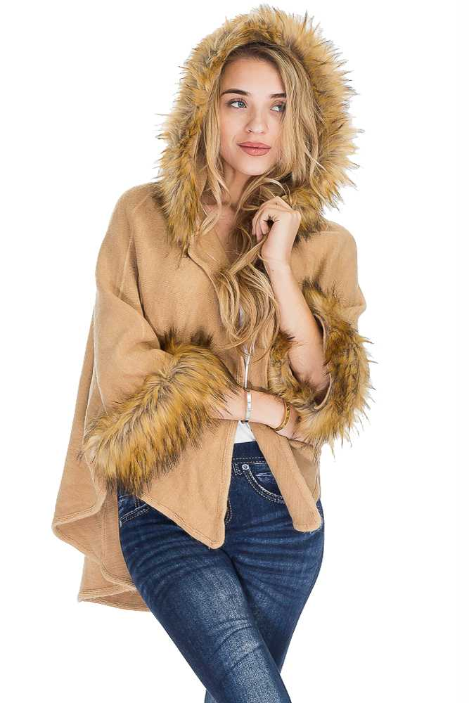 Long Brushed Two Toned Faux Fur Hood Trimmed And Sleeves Thick Softness Cape Poncho