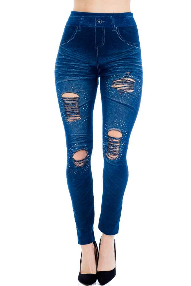 Denim Tight Stretch Bling distressed Knee Fashion Leggings