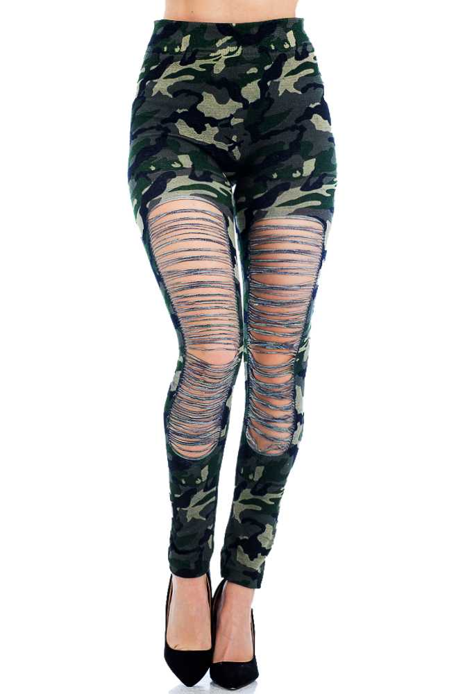 Distressed Frontal Ripped Fashion Wear Tight Legging Pants