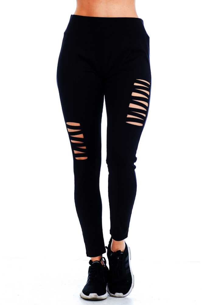 Black Cutout Criss Cross Lattice Detail Waist Leggings