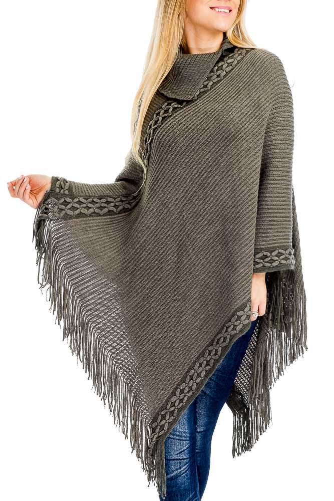 Rib and Cross Knit Asymmetrical Neck Soft Poncho