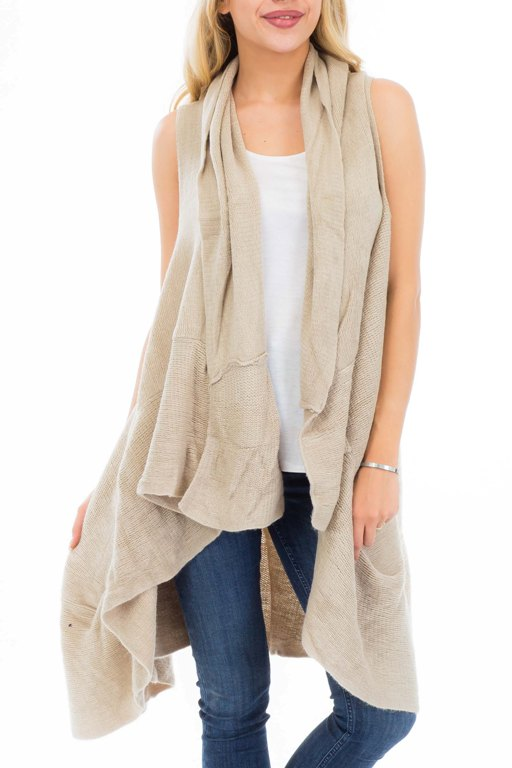 Slouchy Ruffled Bottom woven Knit Cardigan Vest