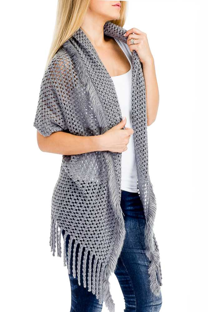 Slouchy Net Pattern Textured Super Soft Poncho with Fur Trim Accent