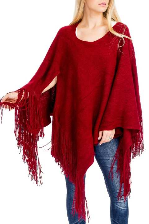 Cashmere Feel Thick Super Softness with Fringe Poncho