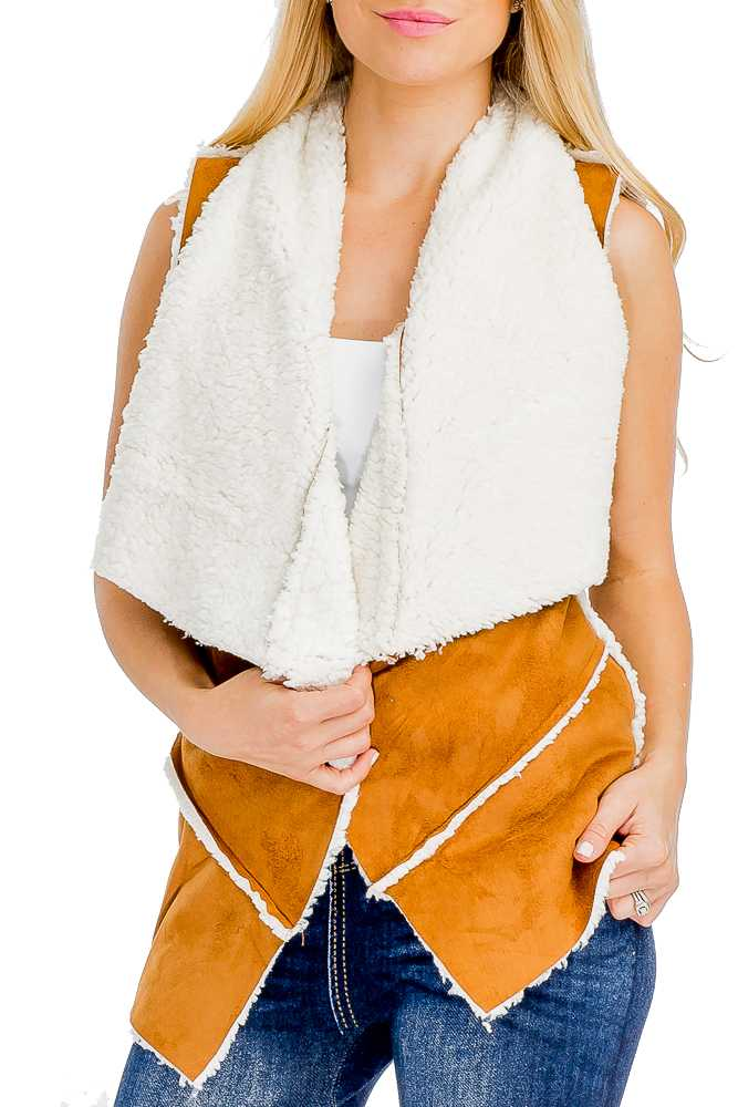 Women Suede with Faux Shearling Vest