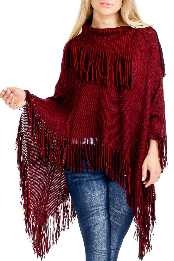 Fringe Ribbed Neck And Hemline Stripe Texture Knit Poncho