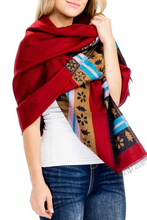 Deer And Snowflake Bottom Printed Long Sized Oblong Scarves
