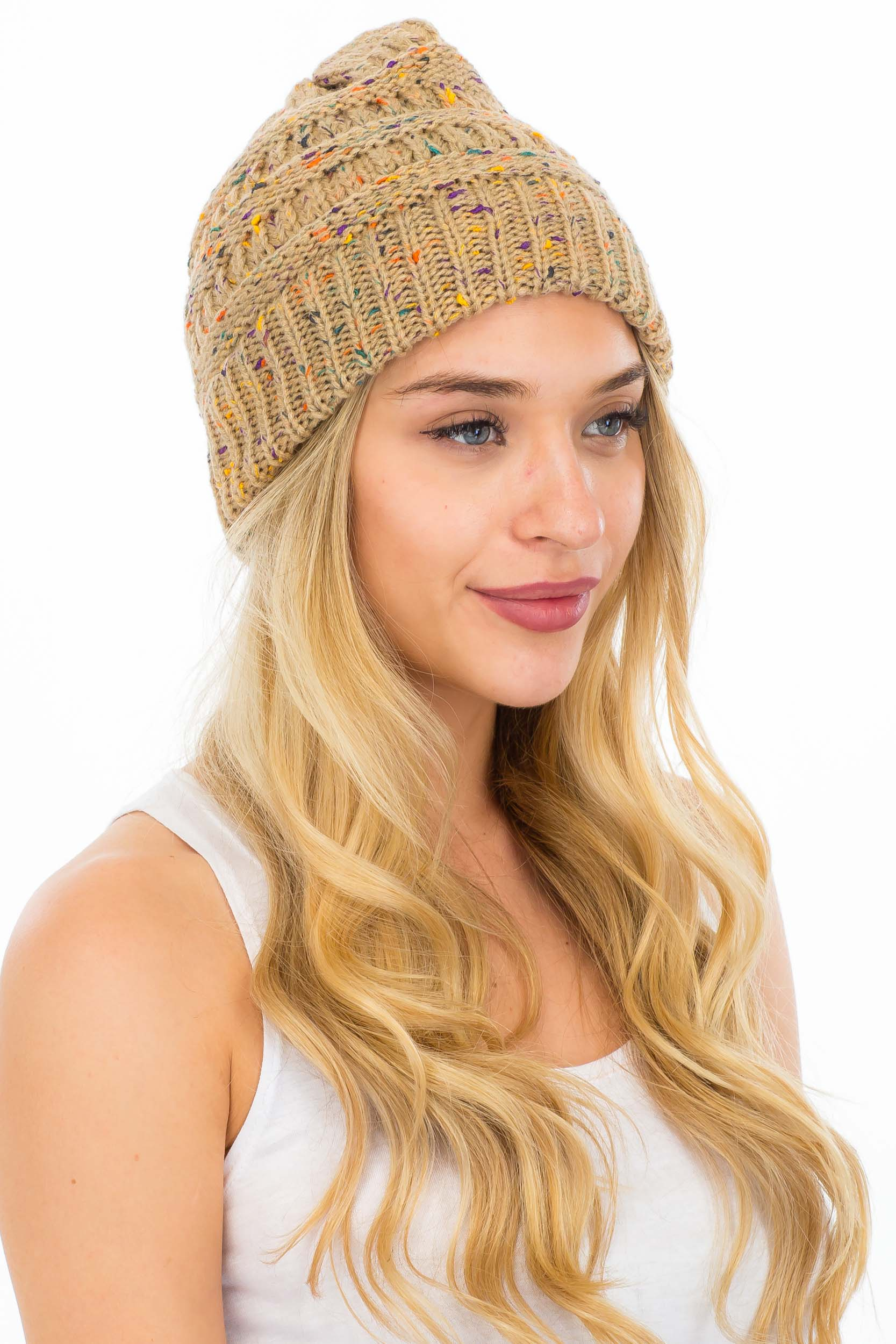 Thick Multi Colored Thread Knit Beanie with a Hole for Ponytail