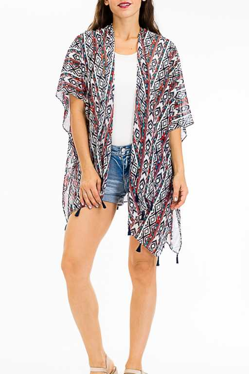 Missioni Tribal Geometric Sheer Printed Kimono Cardigan
