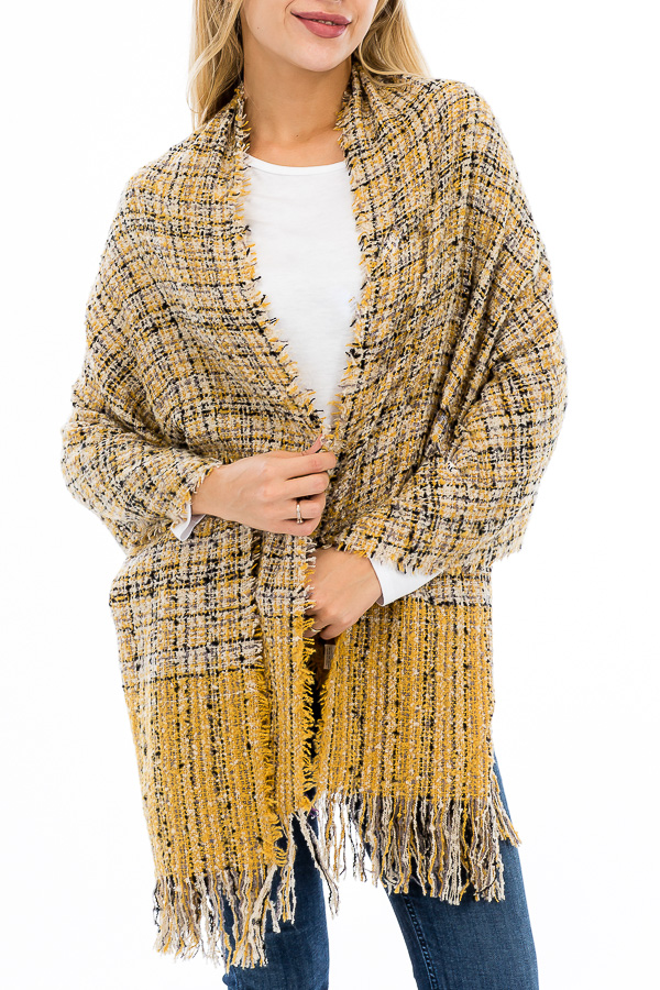 Two Tone Stripe Plaid Patterned Distressed Blanket Scarf