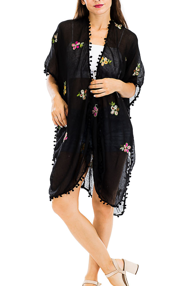 Colorful Daisy Embroidered and Stitched Kimono with Pom Pom Ends