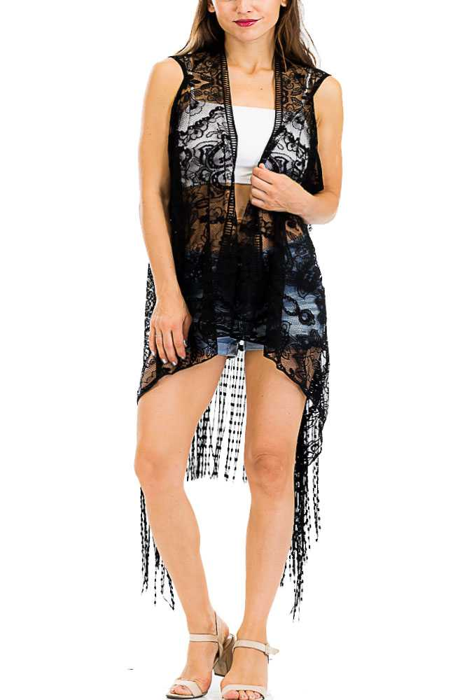 Mandala and Paisley Lace Knit Kimono Vest with Long Knotted Fringes