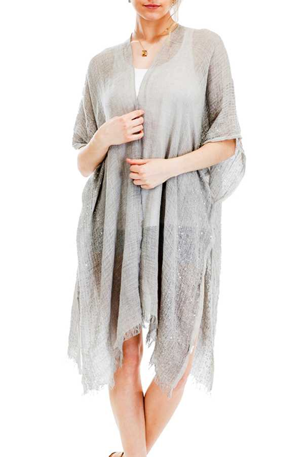 Sequin Shimmered Throw Over Frayed Hem Cover Up Kimono