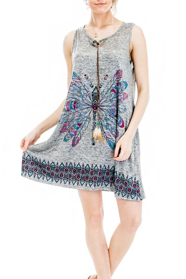 Tribal Feathered Butterfly Pattern Printed and Heather Colored Romper with Adjustable Feathered Stri