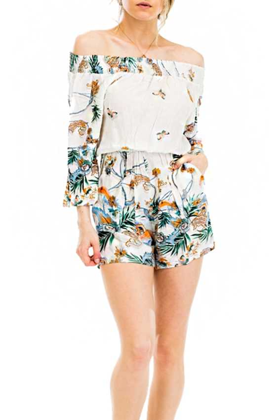 Off The Shoulder chic Boho Garden Floral Summer Romper