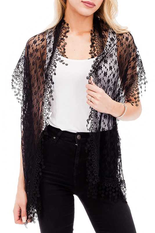 Oblong Cut Delicate Embroidered Floral Hem With All Lace Floral Knit Scarves