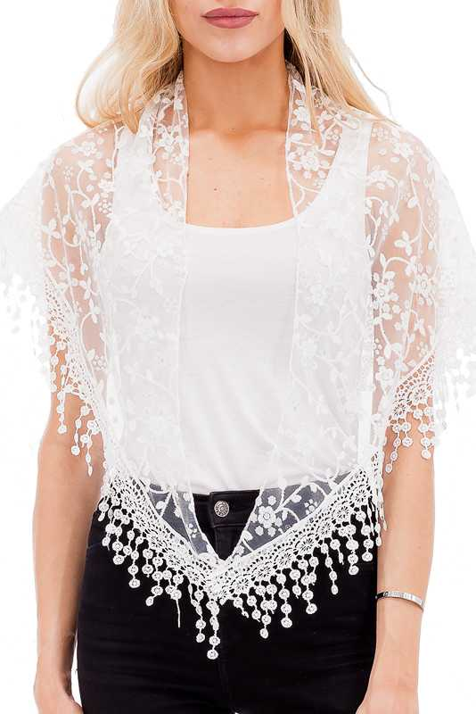 Triangle Cut Delicate Embroidered Floral Hem With All Lace Floral Knit Scarves