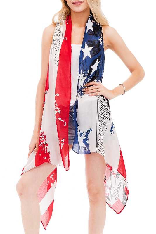 Classic Vibrant American Flag And Statue Of liberty Patriotic Vest Kimono