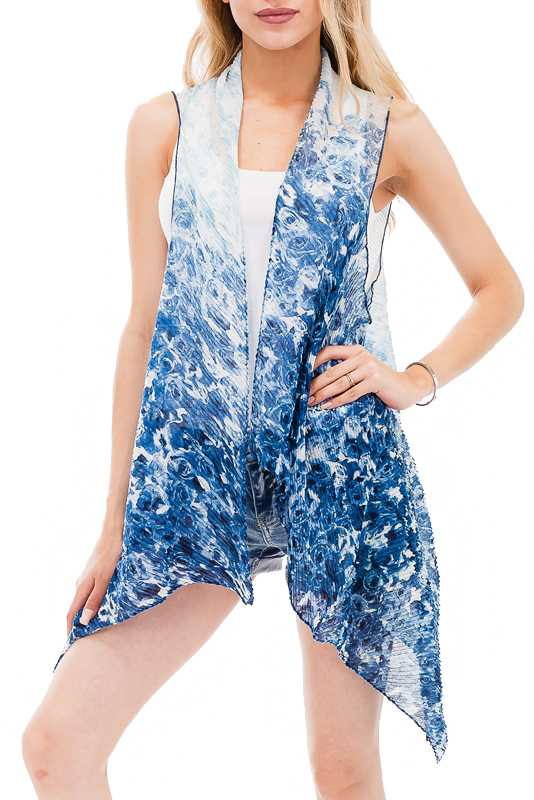Rippled Air Brushed Rose Pattern Kimono Vest