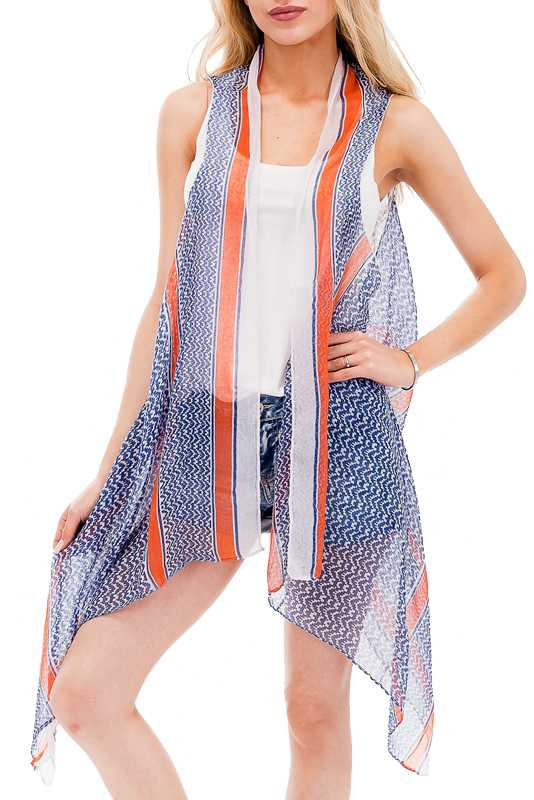 Abstract Chevron Print Multi Colored Vest Kimono