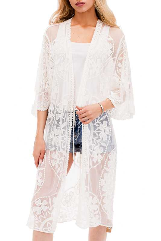 Maxi Luxury Crochet Floral Mandala Lace Textured Robe Like Kimono