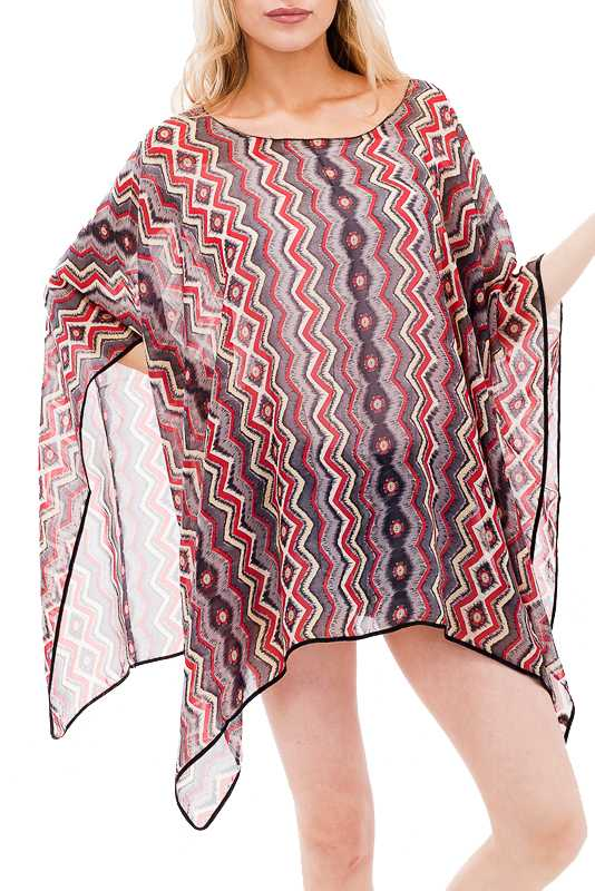 Sheer Chiffon Colorful Abstract Geometric Printed Throw Over Kimono Top