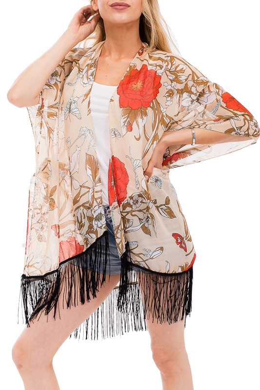 Bold Red Hibiscus with Blue Butterfly with Tassel Kimono