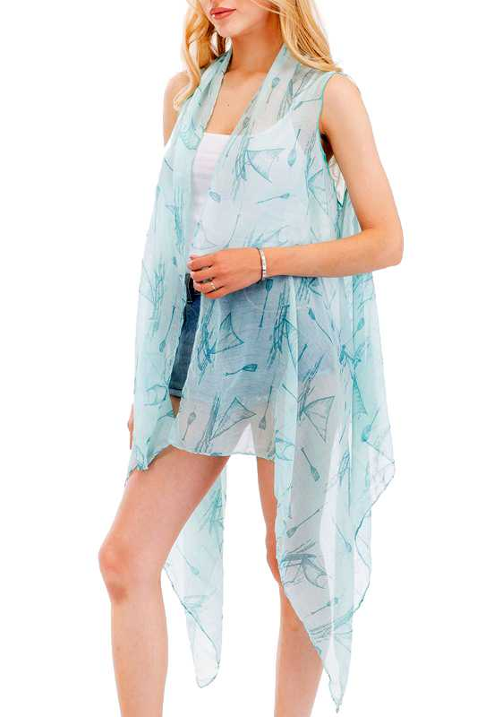 Ocean Sailor Ship Beach Design Printed Softness Vest Kimono