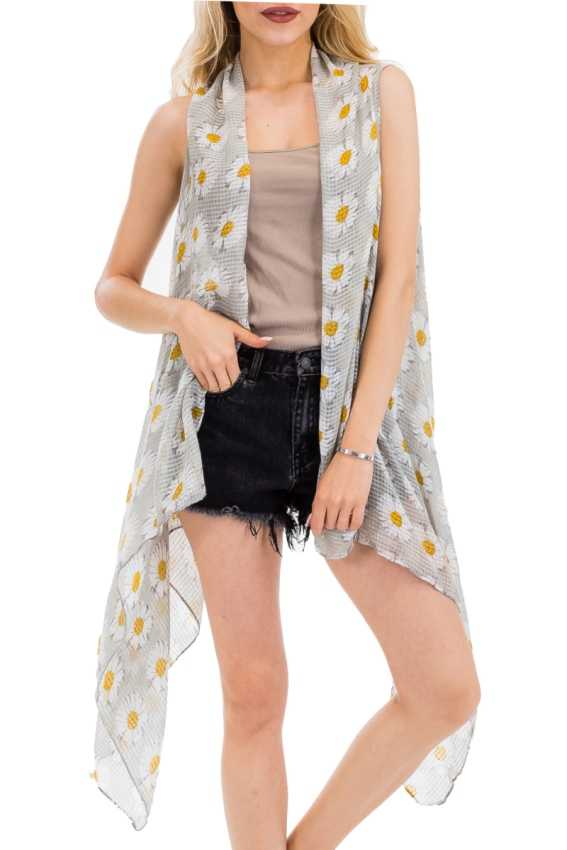 Daisy Wonderland Semi Sheer Sleeveless Vest Style