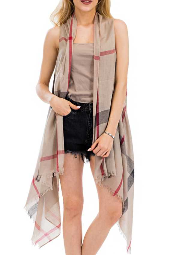 Plaid Pattern Semi Sheer Sleeveless Vest Kimono Style