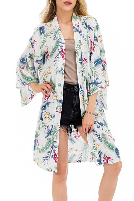 Authentic Wing Sleeved Elegant Floral Feather Printed Cover up Kimono
