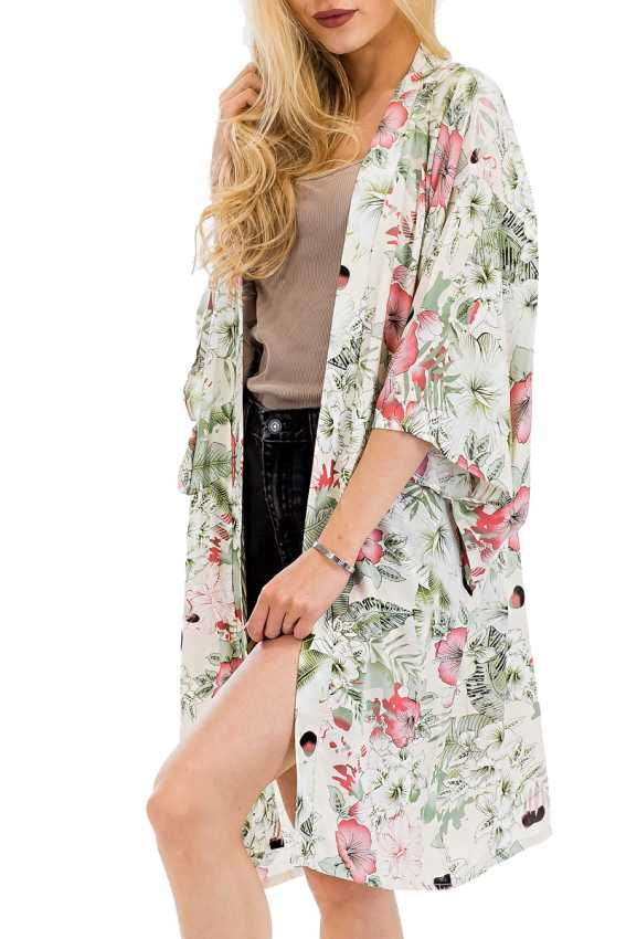 Modern Juban Styled Seamless Pastel Floral Printed Long Breezy Cover up Kimono