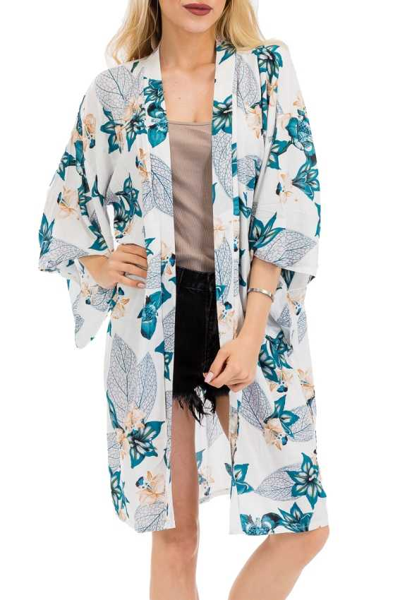 Ocean Blue Floral And Leafs Printed On Classic Wing Sleeve Long Kimono Cover Up