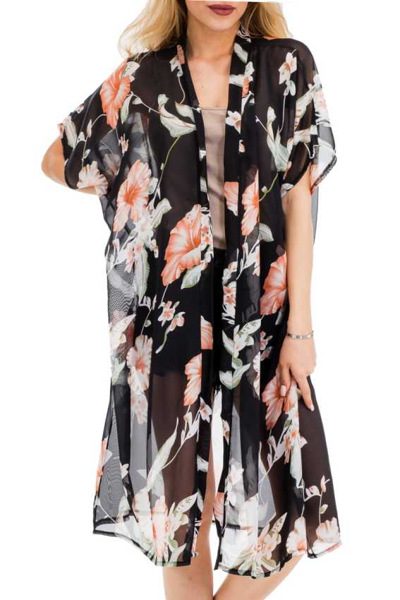 Sheer Peach Tone Hicubus Floral On Long Breezy Kimono Cover Up