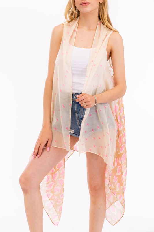 Star and Leopard Pattern Design Softness Kimono Vest
