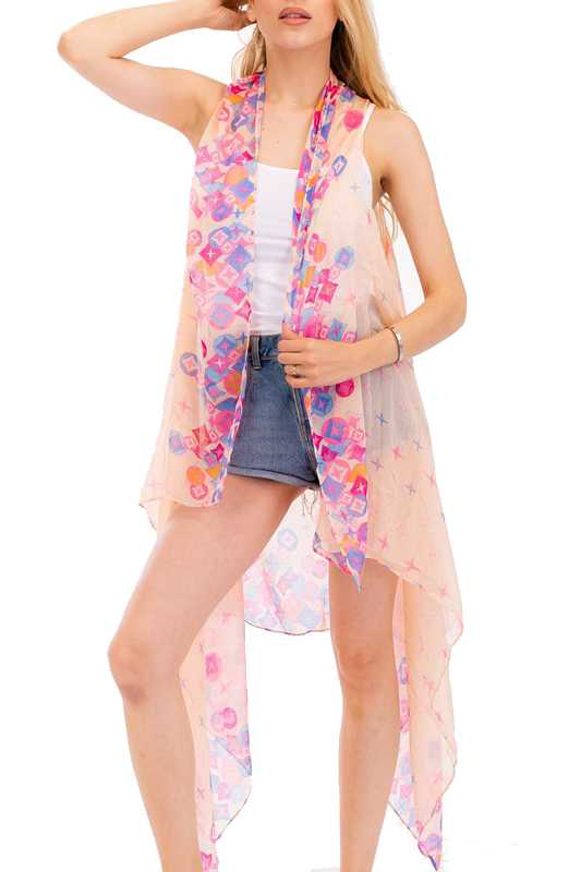 Colorful Diamond Pattern Kimono Vest