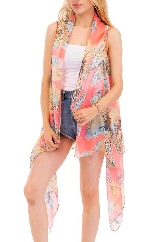Big Flower Vintage Print Design  Kimono Vest Cover Up