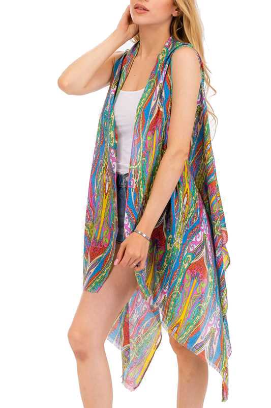 Full Of Multi Color Paisley Funk Printed Kimono Top Cover Up